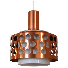 Vintage Mid-Century Swedish Copper & Glass Pendant
