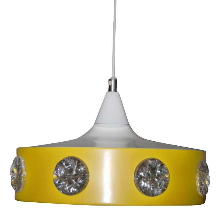 Vintage Mid-Century Swedish Modern Yellow Pendant For Sale