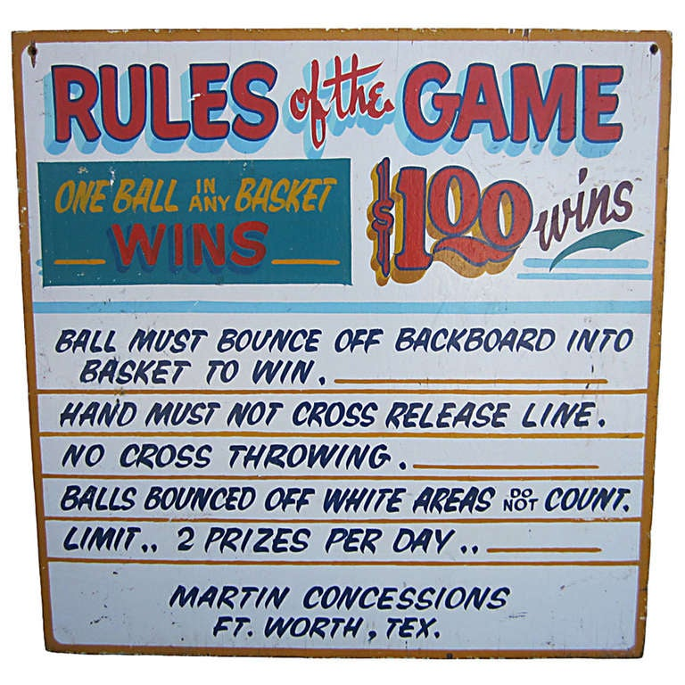 Rules Of The Game Carnival Sign At 1stdibs