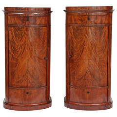 Pair of Danish Empire Oval Pedestal Cabinets
