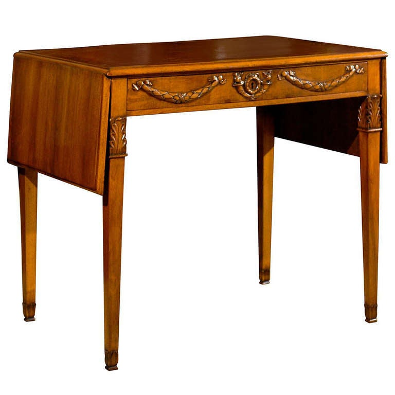 Directoire Style Drop leaf Walnut Table
