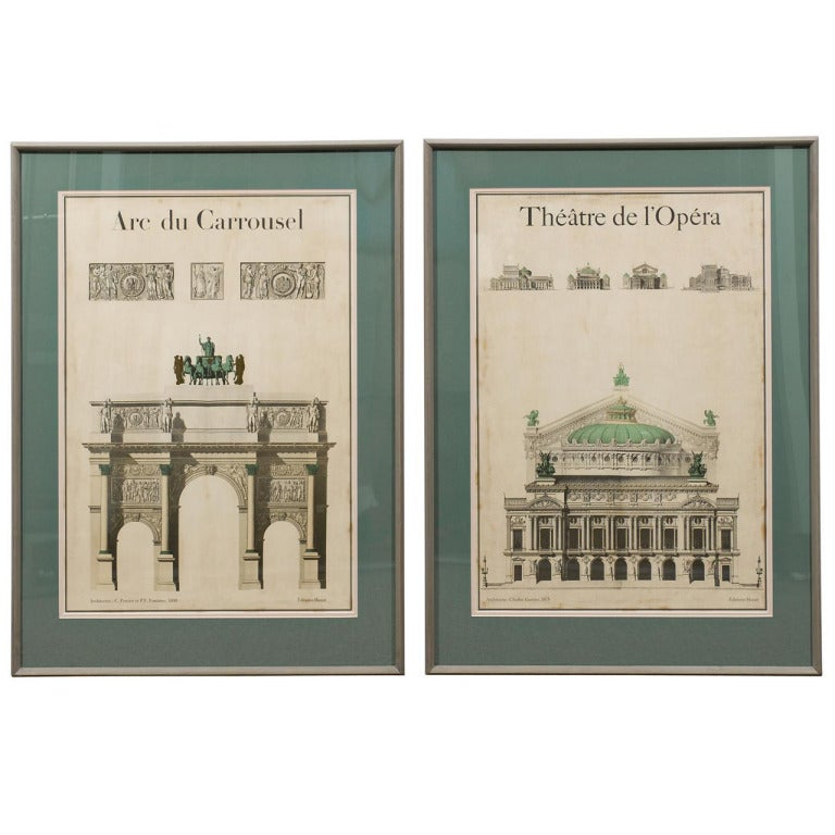 Beautiful Pair of Antique Posters of 19th Century Architectural Engravings