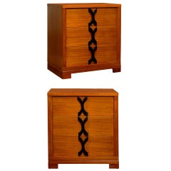 Exquisite Restored Pair of Art Deco Chests in Ribbon Mahogany, circa 1940
