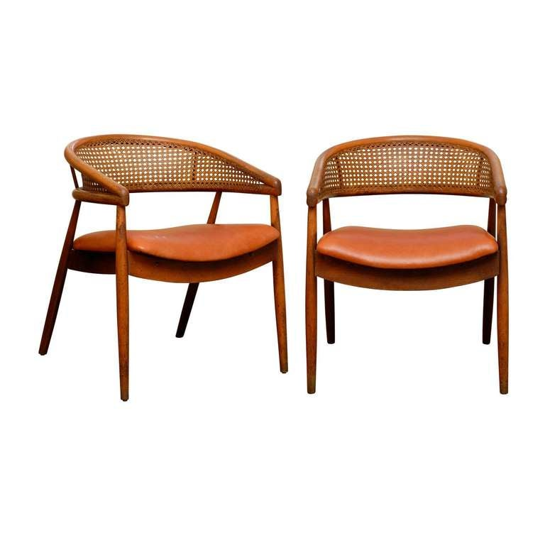 Rare Pair of James Mont Style Bent Beech and Cane Arm Chairs