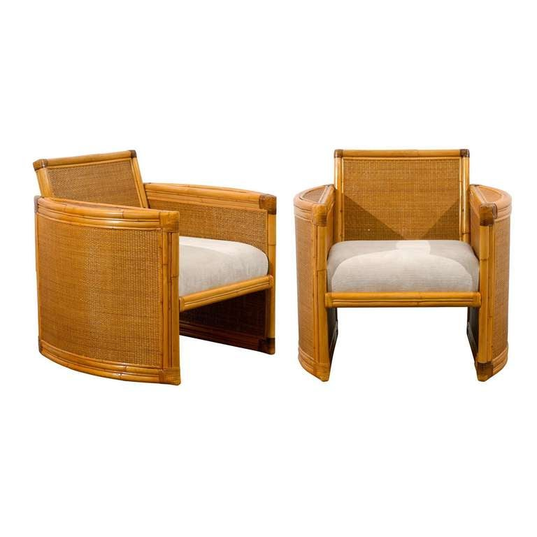 Fabulous Pair Of Restored Vintage Rattan And Raffia Club Chairs For Sale