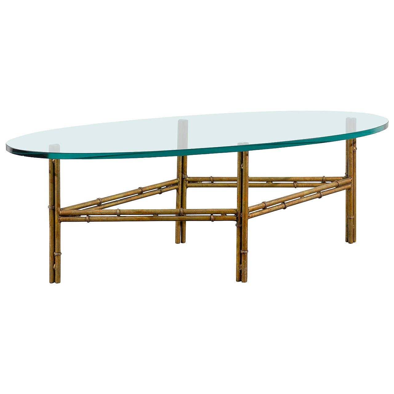Oval glass coffee table with gilded iron bamboo base at for Oval wrought iron coffee table with glass top