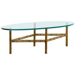 Oval Glass Coffee Table with Gilded Iron Bamboo Base
