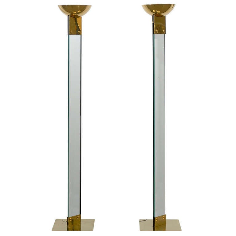 Amazing Pair of Vintage Italian Brass and Glass Torchieres