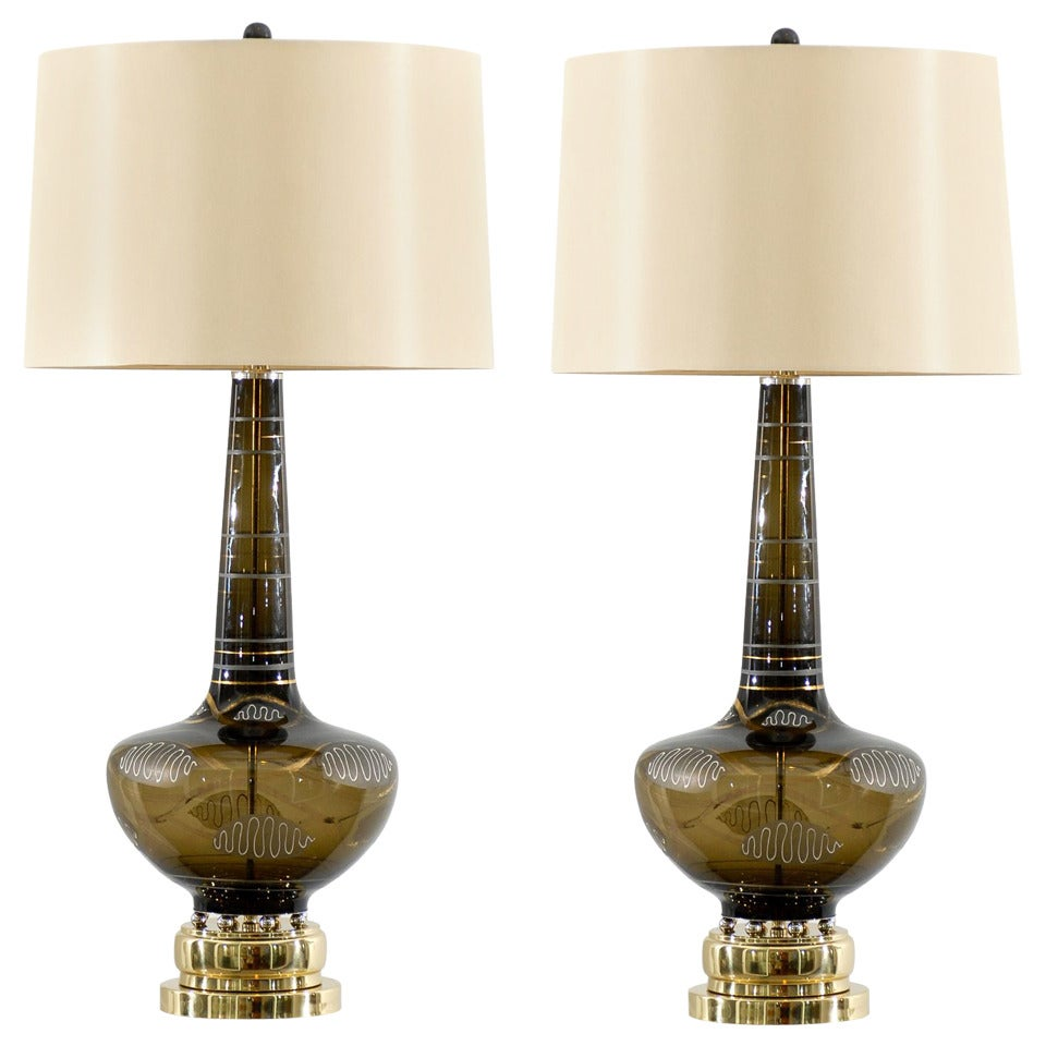 Pair of Hand-Painted Smoked Glass Lamps with Nickel and Brass Accents