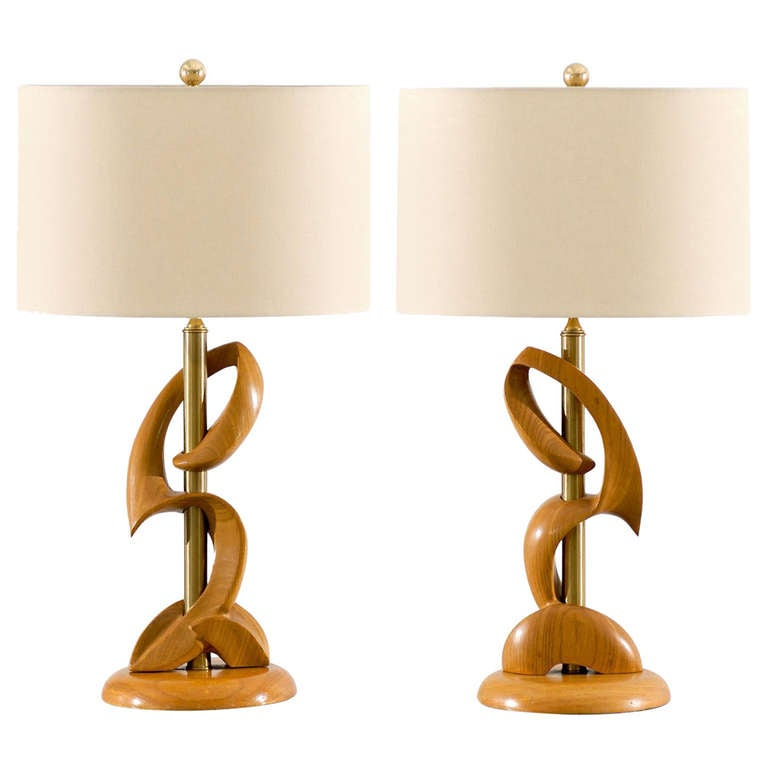 Unusual Pair of Blonde and Brass Lamps by Heifetz
