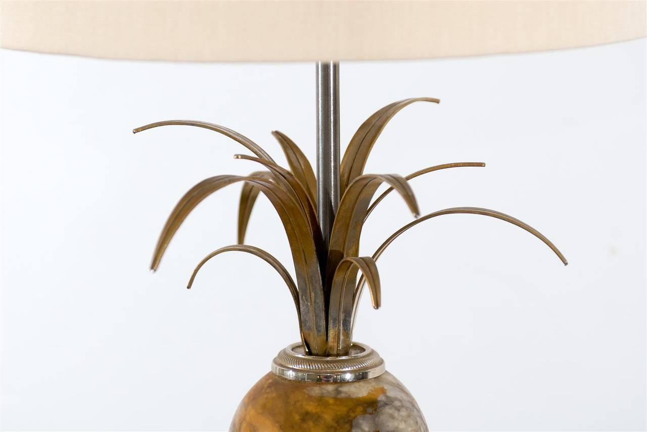 Mid-Century Modern Pair of Maison Charles Marble and Silver Gilt Lamps For Sale