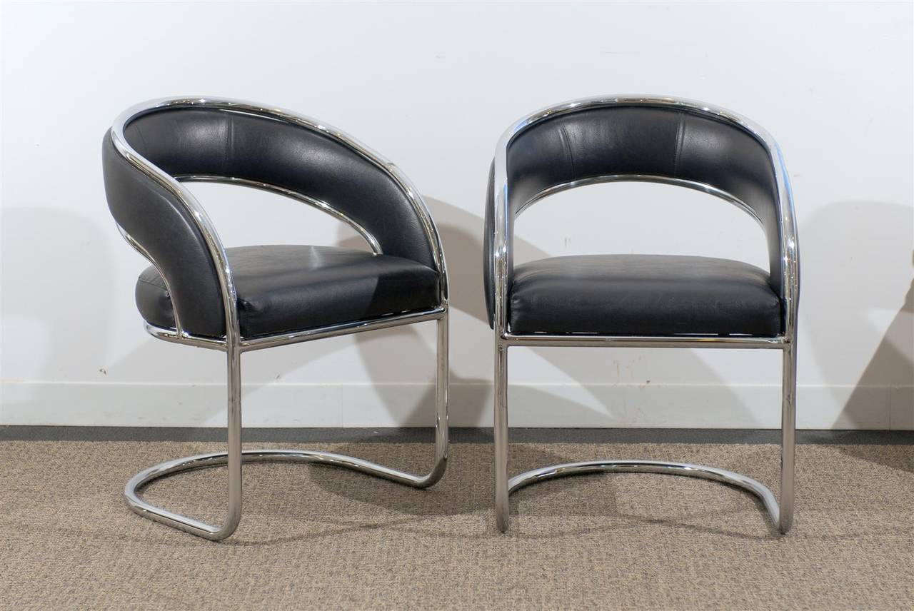 Chic Pair Of Mid Century Modern Rounded Back Chairs In Chrome Upholstered Soft Black