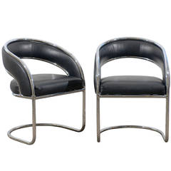 Pair of Rounded Back Chrome Chairs in Black Leather
