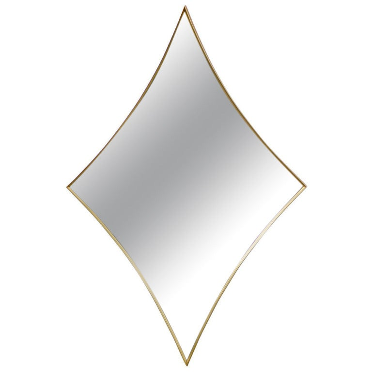Unusual Diamond Shape Brass Frame Mirror Made By Turner Of