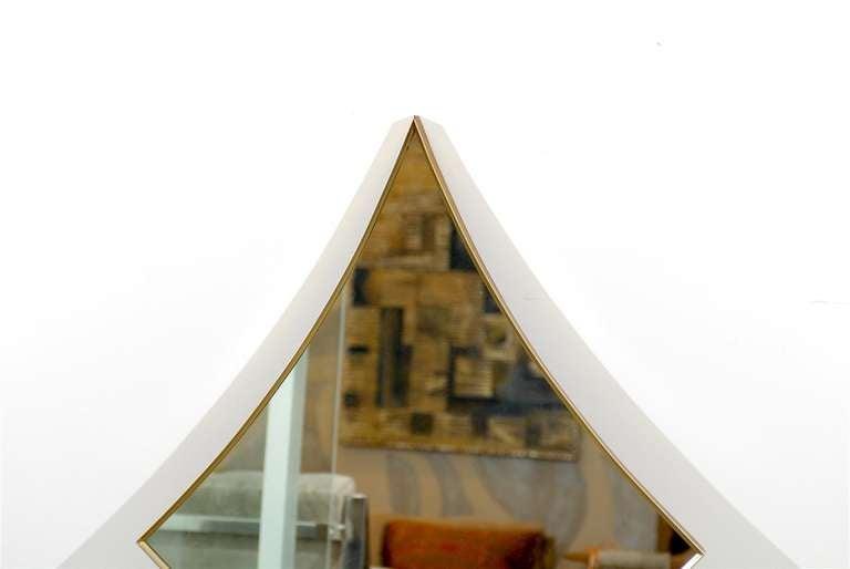 Unusual Diamond Shape Brass Frame Mirror Made By Turner Of