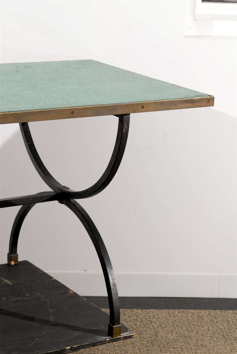 20th century iron base desk table with scagliola malachite for Th 37px60b table top stand