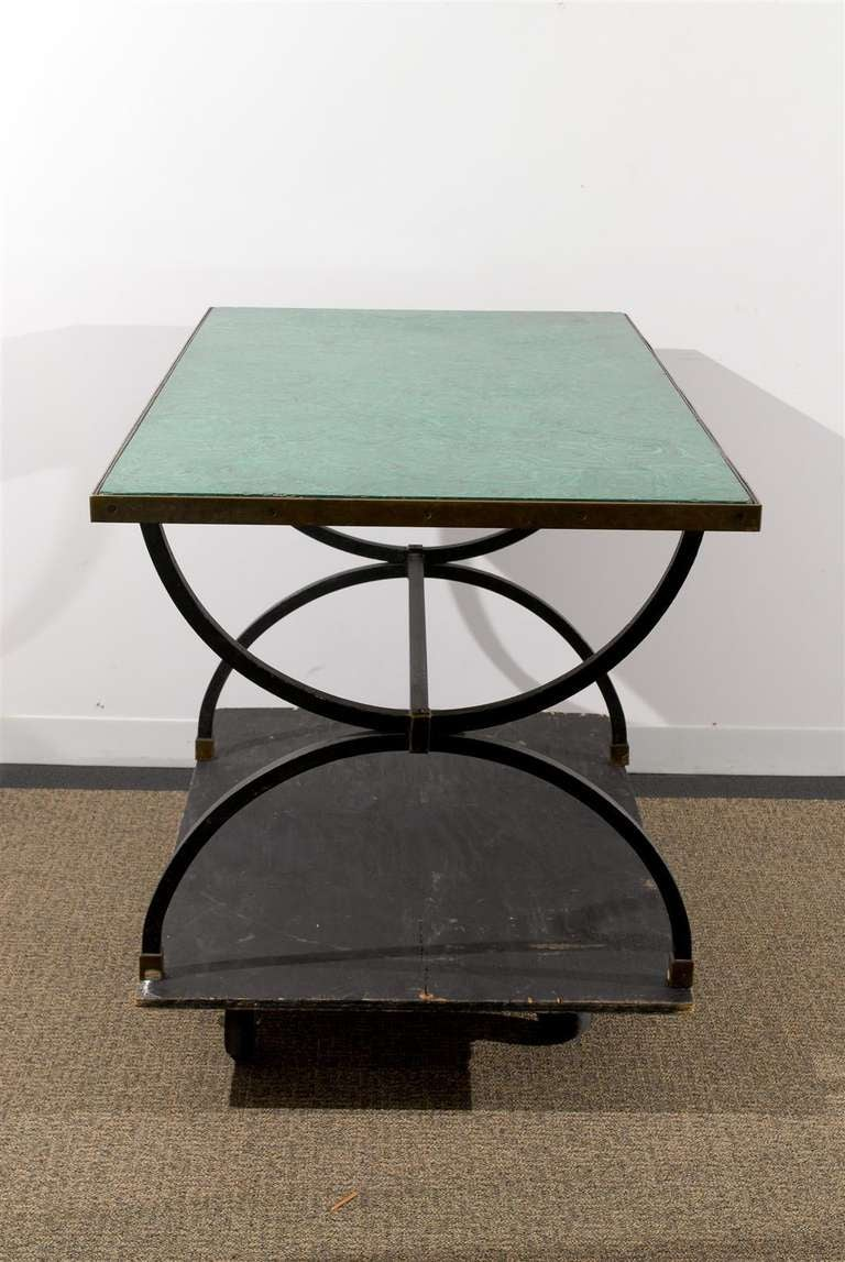 20th century iron base desk table with faux malachite for Th 37px60b table top stand