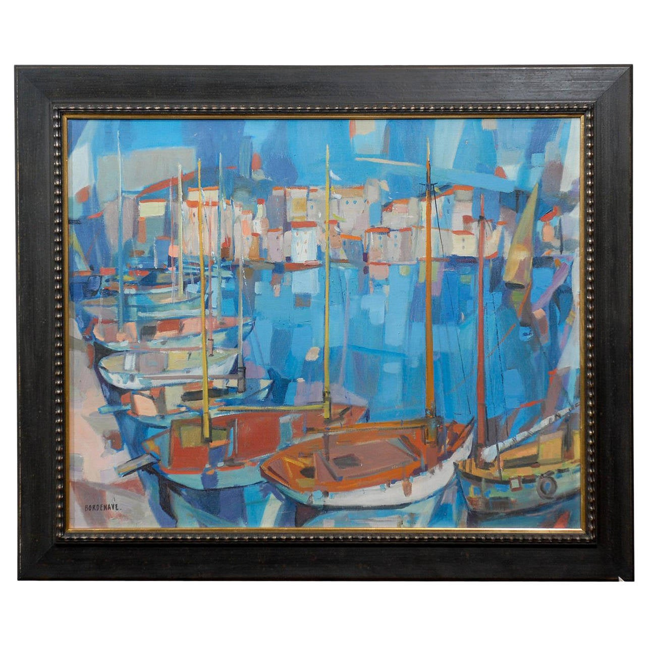 Oil on Canvas of Harbor Scene in Cannes Signed by Bordenave