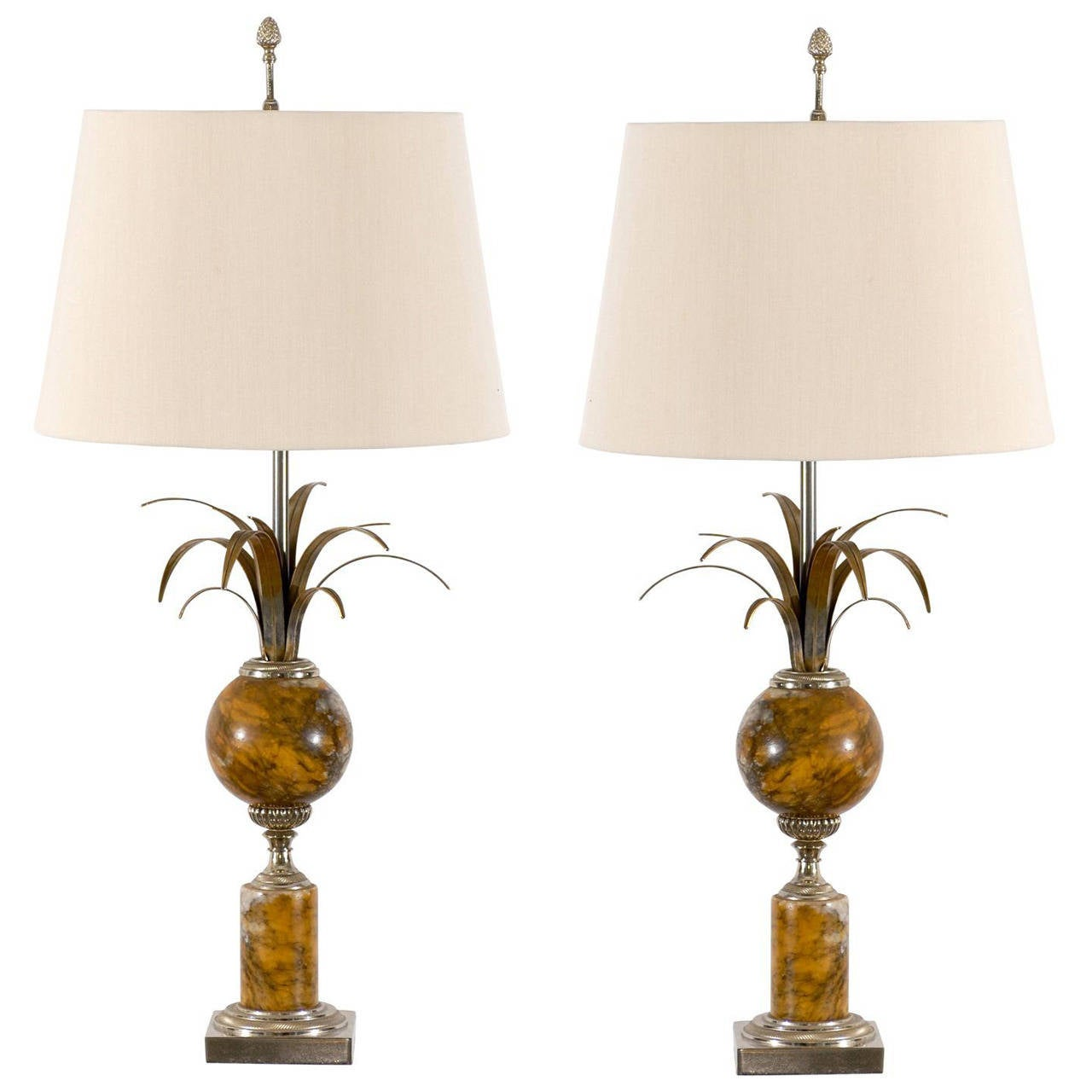 Pair of Maison Charles Marble and Silver Gilt Lamps For Sale