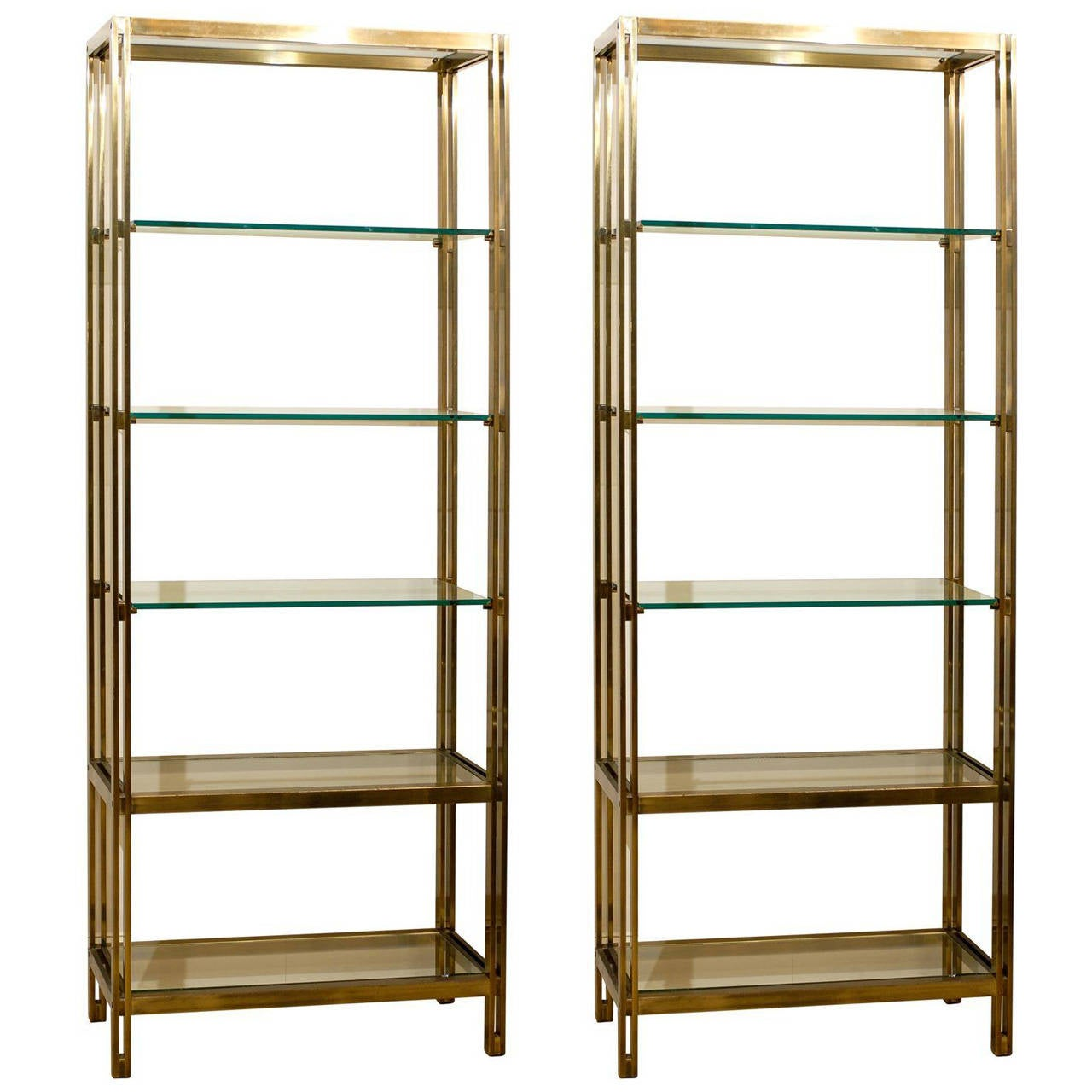 pair of brass and glass tag res at 1stdibs. Black Bedroom Furniture Sets. Home Design Ideas