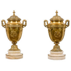 Pair of Gilded Bronze Urns on Marble Bases