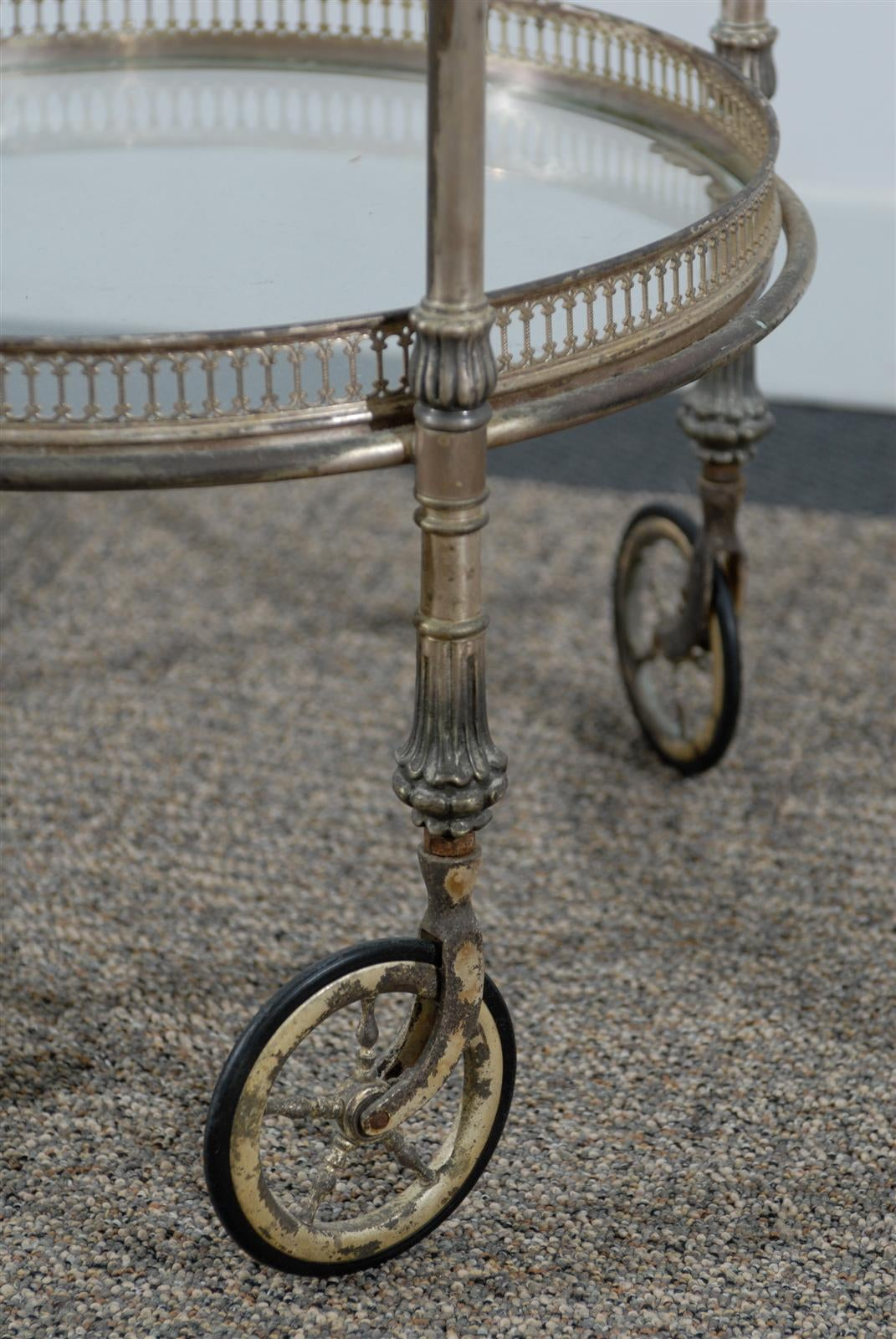 Two Tier Round Silver Tea Cart With Removable Tray On