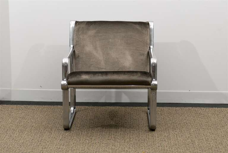 Rare Pair of Aluminum Lounge Chairs by Hannah/Morrison for Knoll For Sale 4