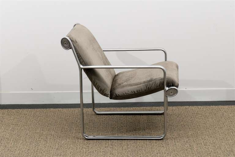 Rare Pair of Aluminum Lounge Chairs by Hannah/Morrison for Knoll For Sale 3