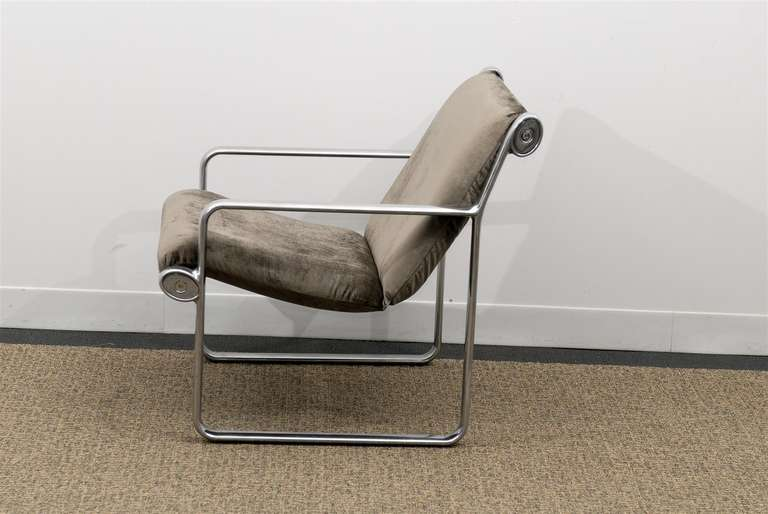 Mid-Century Modern Rare Pair of Aluminum Lounge Chairs by Hannah/Morrison for Knoll For Sale