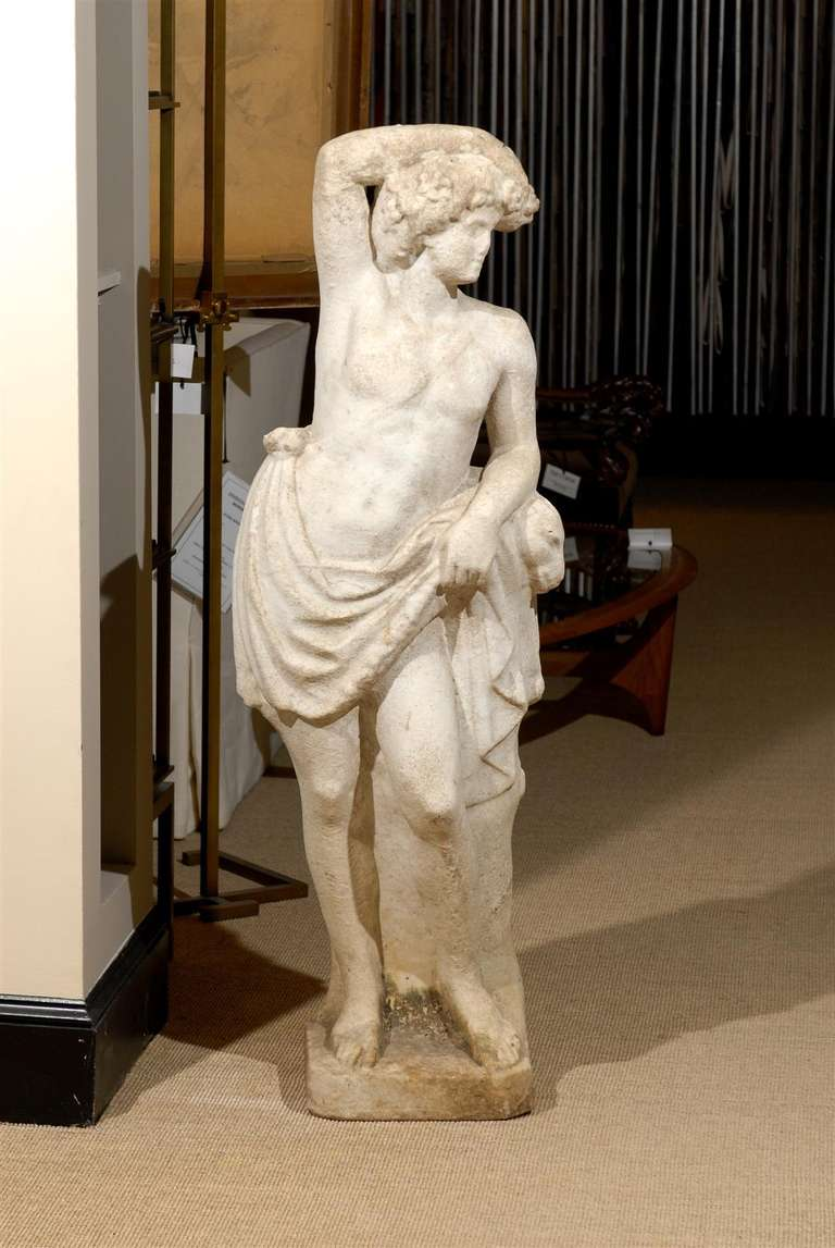 Beautiful 19th Century  Neoclassical Garden Statue in Marble