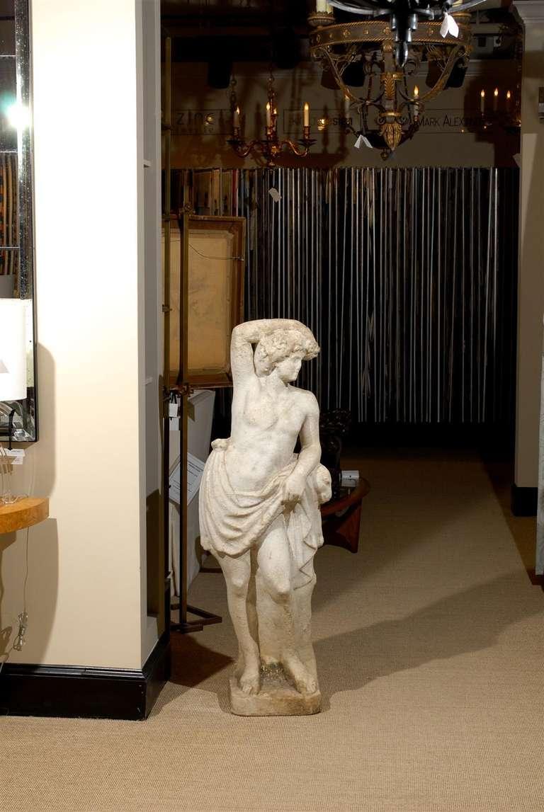 Italian Neoclassical Garden Statue in Marble For Sale