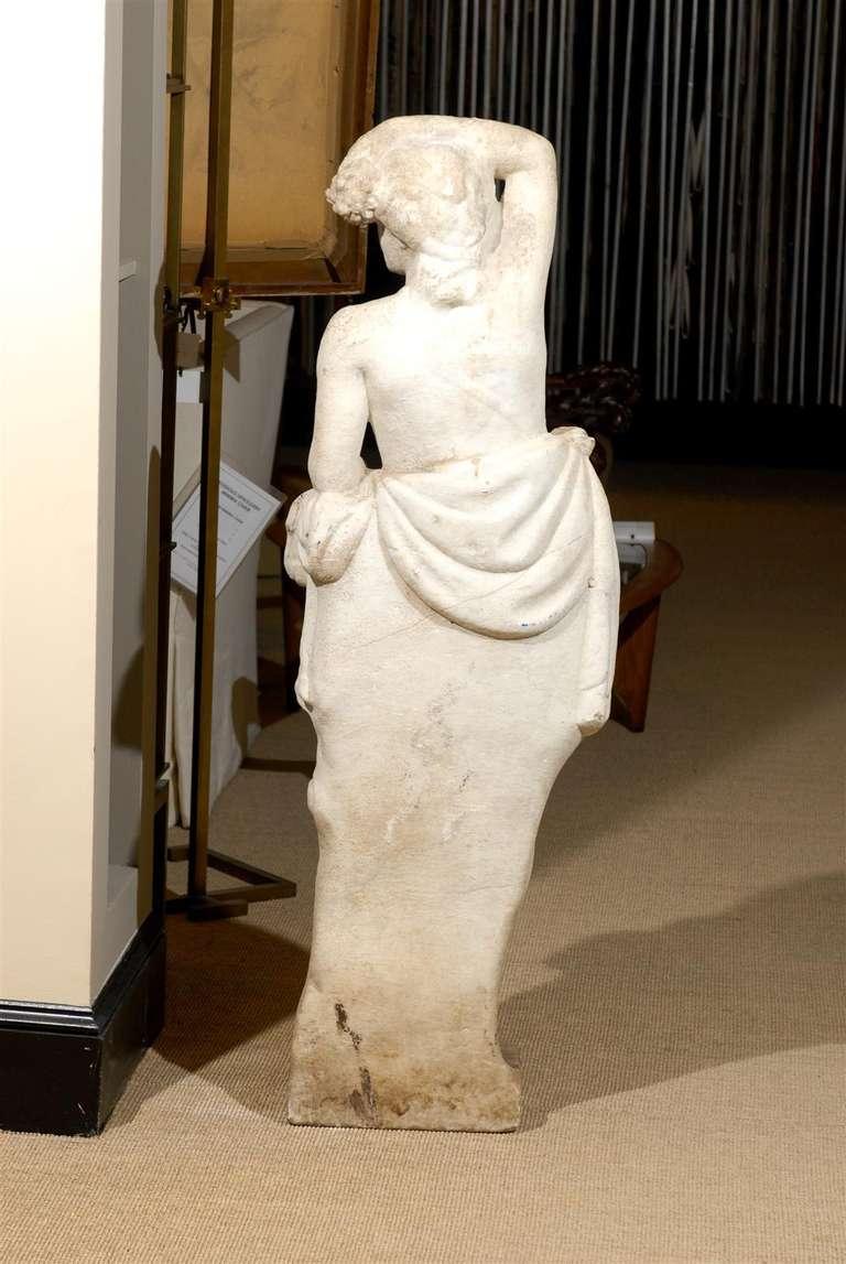 Neoclassical Garden Statue in Marble In Excellent Condition For Sale In Atlanta, GA