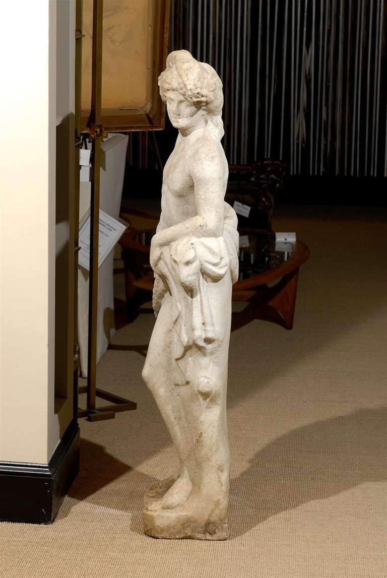 19th Century Neoclassical Garden Statue in Marble For Sale