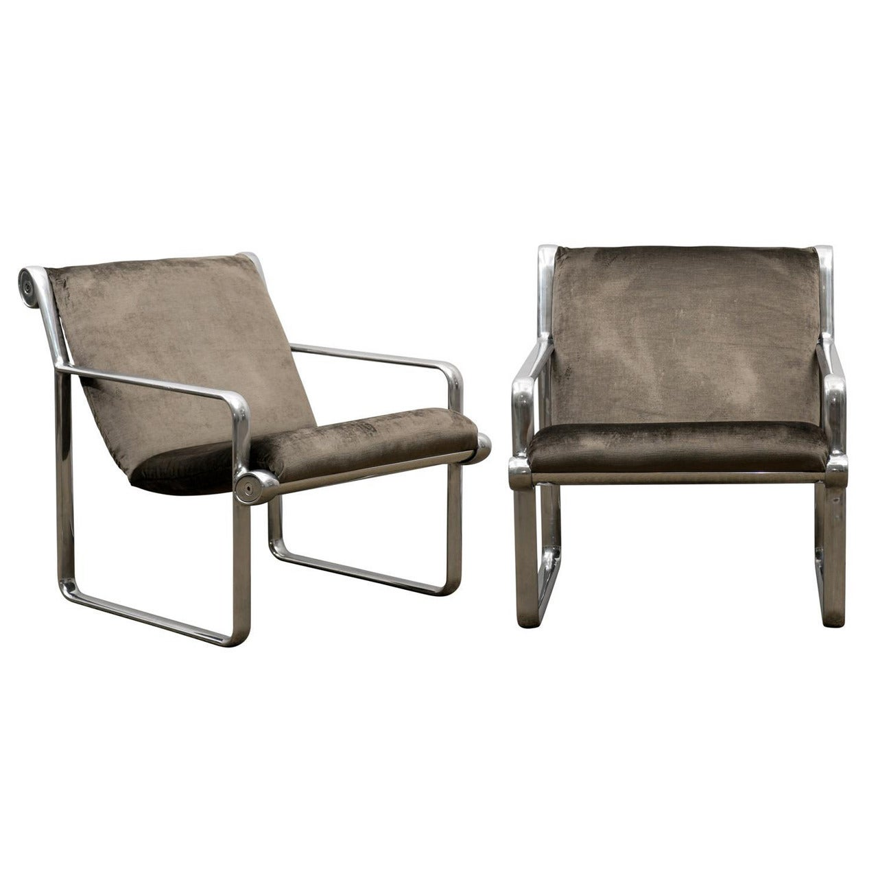 Rare Pair of Aluminum Lounge Chairs by Hannah/Morrison for Knoll