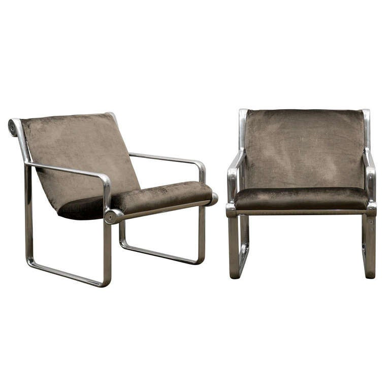 Rare Pair of Aluminum Lounge Chairs by Hannah/Morrison for Knoll For Sale