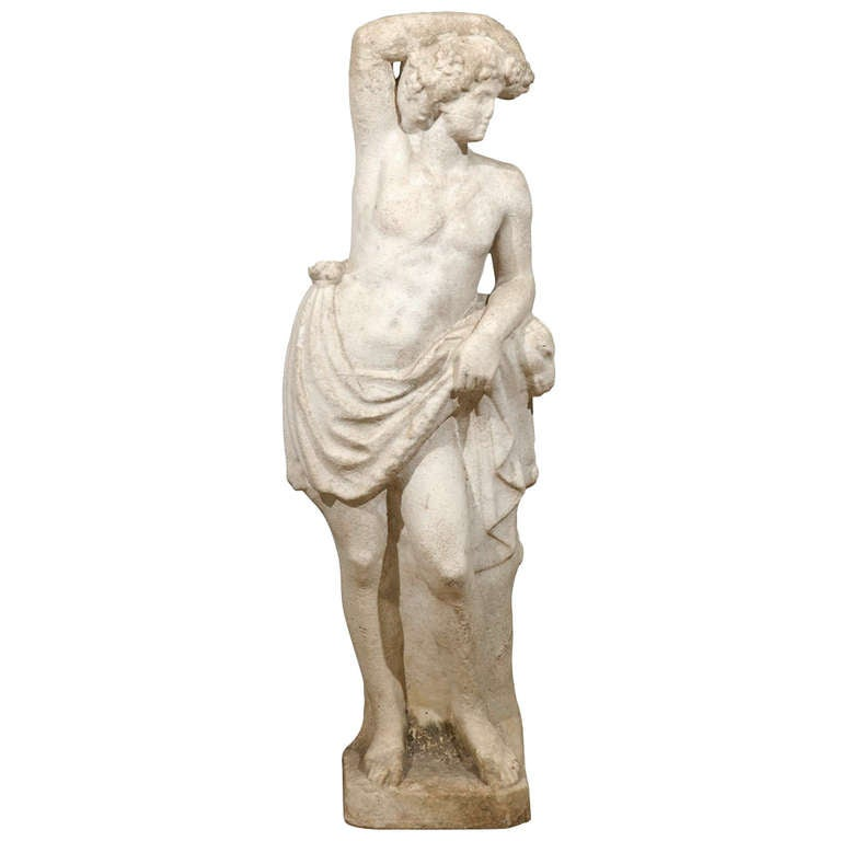 Neoclassical Garden Statue in Marble For Sale