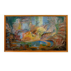 Exotic/Fantasy Sealife Oil Painting on Board Signed R. Mendes FR