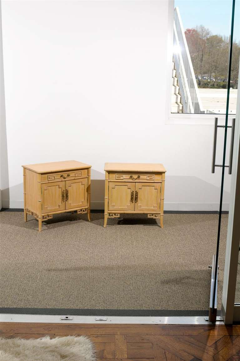 Mid-Century Modern Unusual Pair of Cerused Faux Bamboo Chests by Ray Sabota For Sale