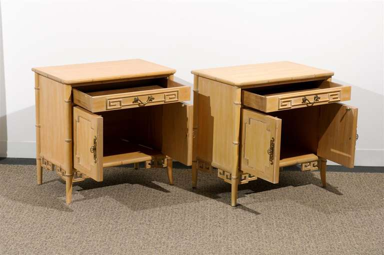 Unusual Pair of Cerused Faux Bamboo Chests by Ray Sabota For Sale 2
