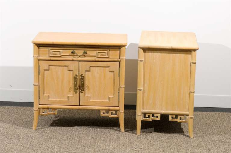 Unusual Pair of Cerused Faux Bamboo Chests by Ray Sabota In Excellent Condition For Sale In Atlanta, GA