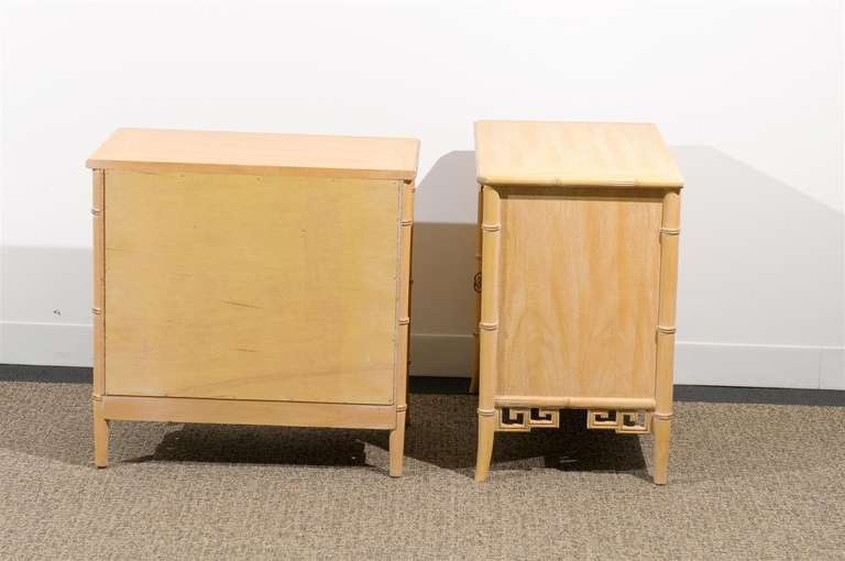 Late 20th Century Unusual Pair of Cerused Faux Bamboo Chests by Ray Sabota For Sale