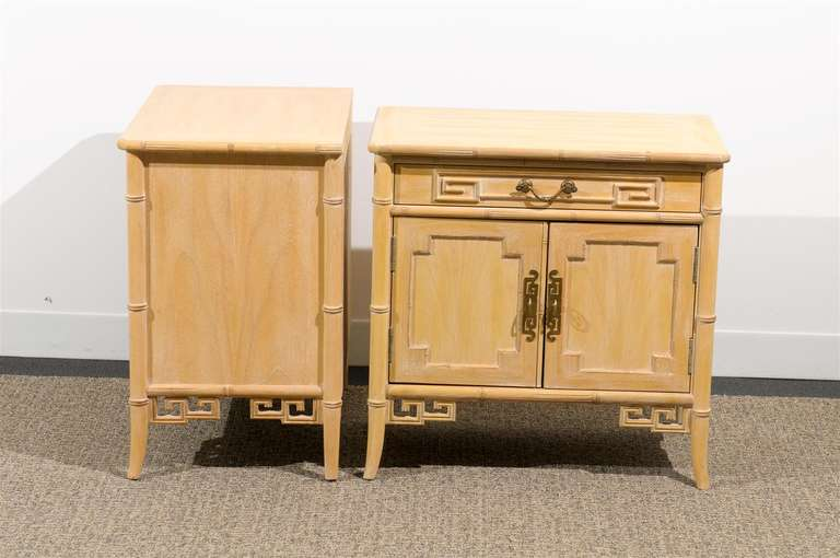 American Unusual Pair of Cerused Faux Bamboo Chests by Ray Sabota For Sale