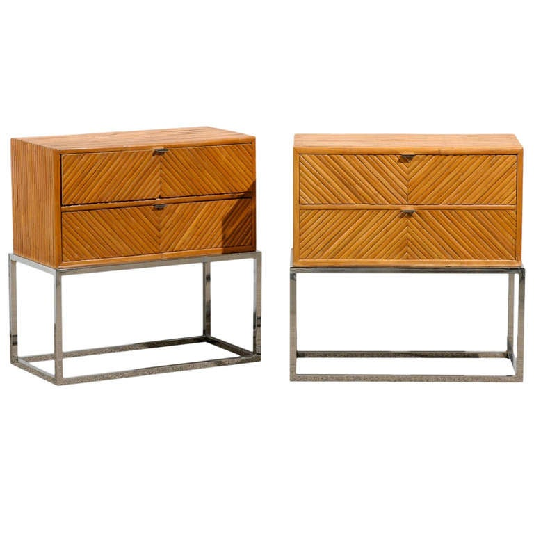 Rare Pair Of Milo Baughman Bamboo And Chrome End Tables/Night Stands 1