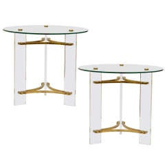 Pair of Glass, Brass and Lucite Tables by Charles Hollis Jones