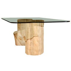 Dining Table with Antique Wood Tree Bases from Burma