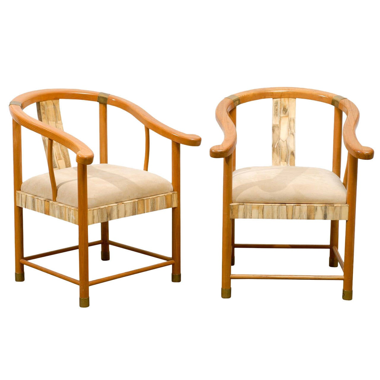 Pair Of Asian Inspired Midcentury Chairs With Bone And Brass Detail For Sale