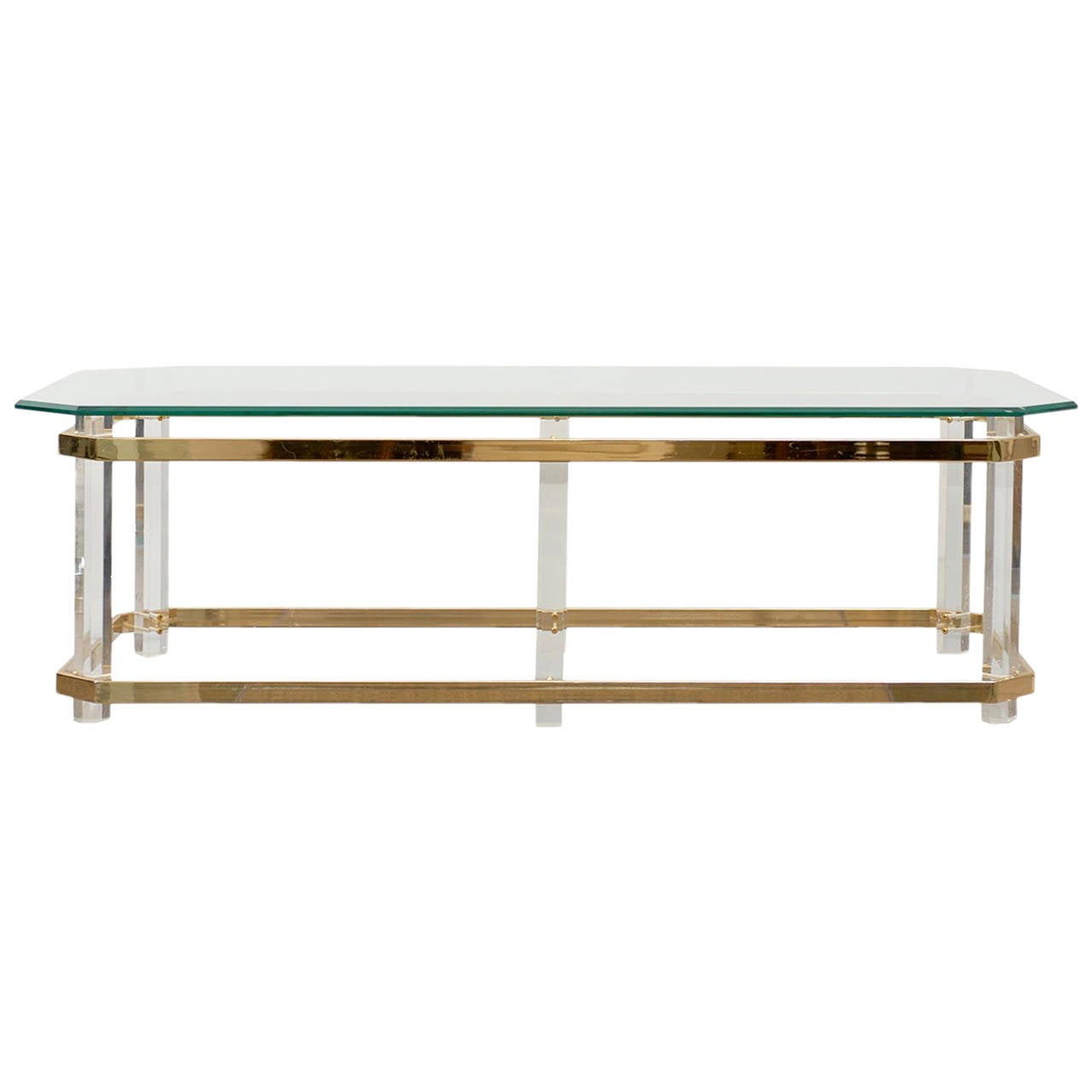"Lucite And Brass Coffee Table With 1/2"" Clip Corner"