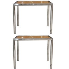 Pair of Milo Baughman Cane/Chrome End or Side Tables