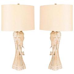 A Unique Pair of Vintage Stylized Elephant Lamps