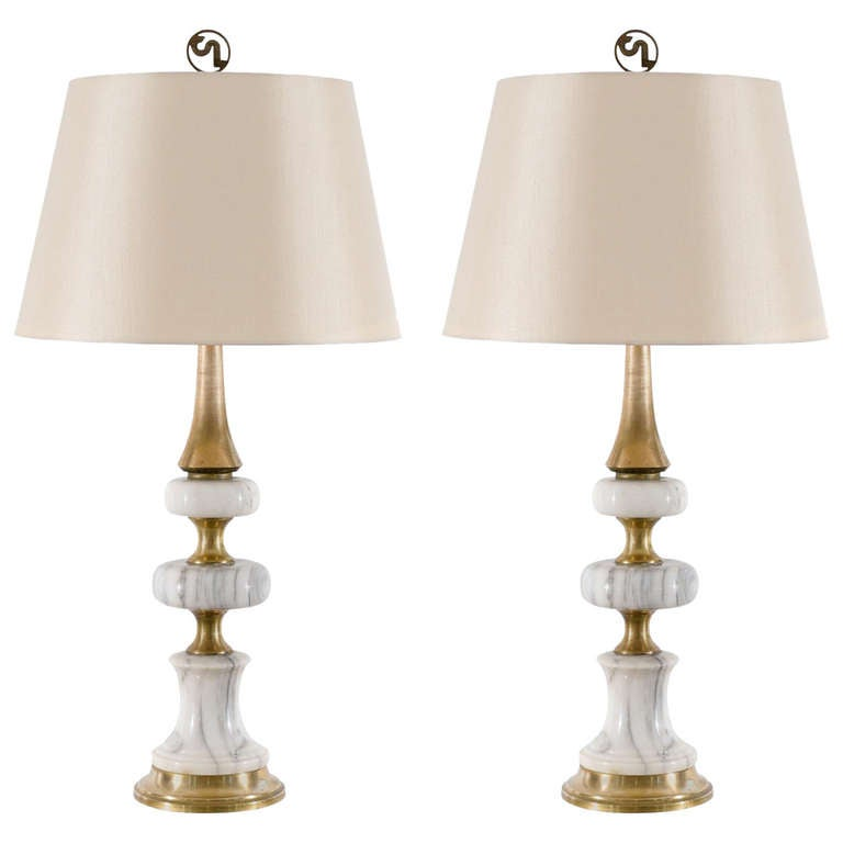 Elegant Pair of Vintage Marble and Brass Lamps
